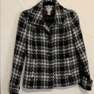 Chico's Black. White Tweed Jacket Blazer